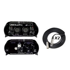 ART USB Dual Pre PS Two Channel Preamplifier/Computer Interface with 2 XLR Cables