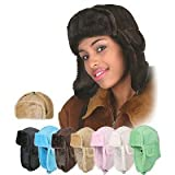 Warm Womens Faux Shearling Trooper Hat in Black and Brown ~ 7headz
