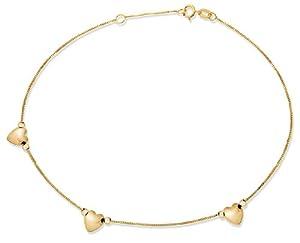 Bracelet de cheville - Femme - Chaîne Coeur - Or jaune (9 carats) 0.97 Gr