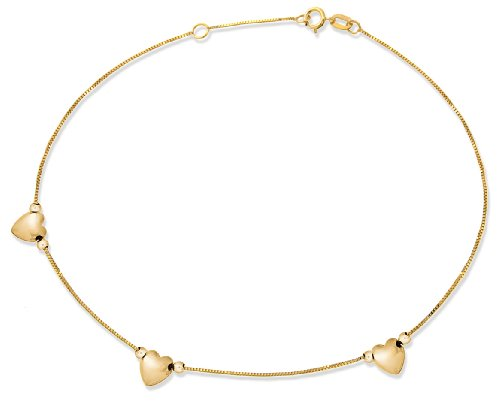 9ct Yellow Gold 3 Hearts Box Chain Anklet ,Length-26cm