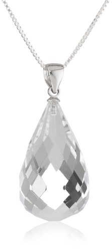 Sterling Silver Box Chain Faceted Crystal Teardrop Pendant Necklace, 18