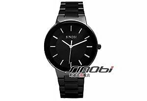 SOLEASY New Fashion Men's Stainless Steel Wrist Watch Quartz Black WTH0035