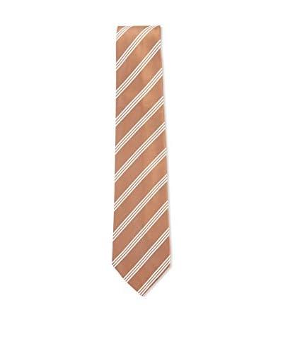 Kiton Men's Diagonal Striped Tie, Brown/White