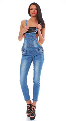 10410 Fashion4Young Damen Latzhose Hose pants mit Träger Röhren Jeans Overall Jeanshose Trägerhose