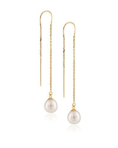 Splendid 7.5-8mm White Pearl Long Drop Earrings