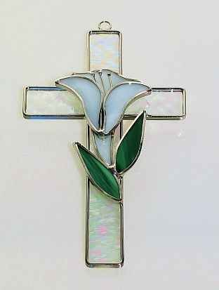 Stained Glass Cross with Lily