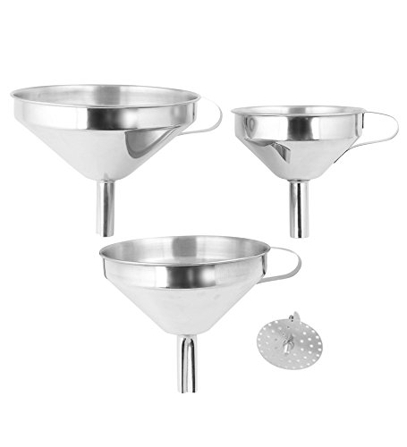Fresh Australian Kitchen Funnels. 3x Stainless Steel Kitchen Funnels with Removable Strainer. (Yogurt Strainer Glass compare prices)