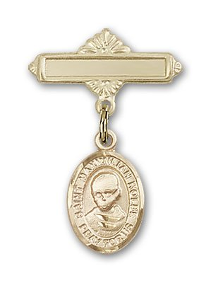 Gold Filled Baby Badge with St. Maximilian Kolbe Charm and Polished Badge Pin St. Maximilian Kolbe is the Patron Saint of Charity/Drug Abuse