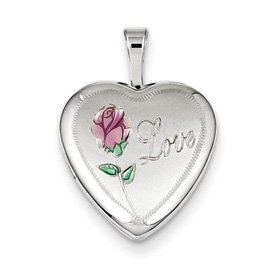 Genuine IceCarats Designer Jewelry Gift Sterling Silver 16Mm Enameled & D/C Love Heart Locket