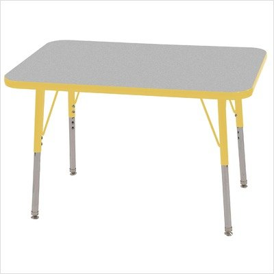 Ecr4kids 24 x 36 rectangular activity table standard legs w swivel glides gray top yellow - Table glides for legs ...