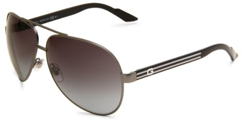 9d1f1092c44a Gucci Men s 1951 S Aviator Sunglasses Dark Ruthenium Black Frame Grey  Gradient Lens One Size