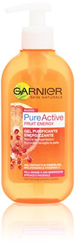 Garnier Pure Active Fruit Energy Gel Purificante Energizzante per Pelli Grasse o con Imperfezioni, 200 ml