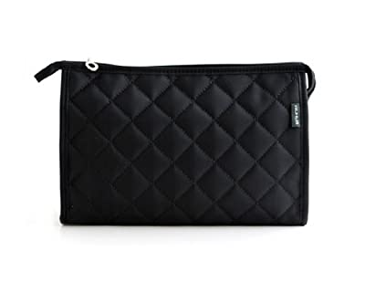 Simplicity Black Nylon Diamond Quilted Solid Color Zipper Cosmetic Bag Makeup Organizer Insert With Mirror - Medium