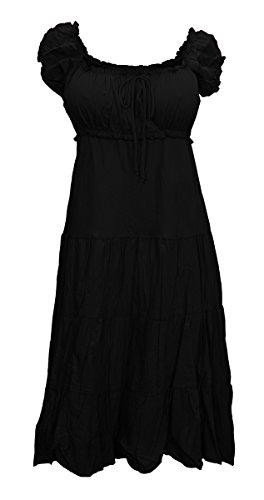Plus Size MidNight Black Cotton Empire Waist SunDress - 3X
