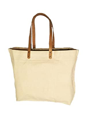 "Eco-friendly Reusable Bag Women Shopping Bag with Handles 10 oz. Cotton Canvas Bag with Brown leather handles Color Natural size 21.5""Wx 15""H 6""Gusset - CarryGreen Bags"