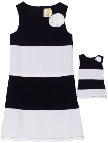 Dollie & Me Girls 7-16 Ottoman Dress, Navy/White, 7