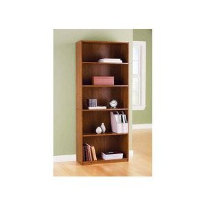 5 shelf bookcase alder wood finish book case. Black Bedroom Furniture Sets. Home Design Ideas