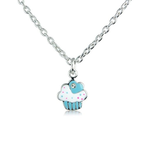 Cupcake children's necklace - matching ring and earrings available, also other colour options - (Blue)
