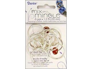 Darice Silver Plated Hoop Earrings with Latch Back, 6-Pair