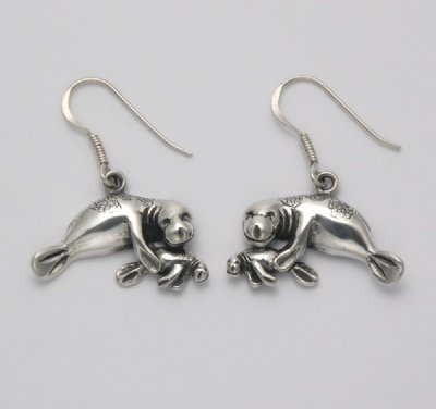 Mother and Baby Manatee Earrings