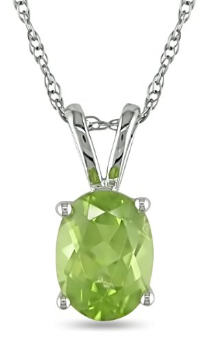 10KW 1-1/4ct TGW Pendant w/ 8X6mm Oval Peridot & Chain, prong set gem