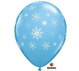 """(12) Light Blue 11"""" Latex Balloon with Falling White Snowflakes"""
