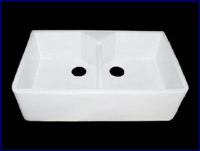 Kitchen Farmhouse Apron Front Sink - White Double Bowl