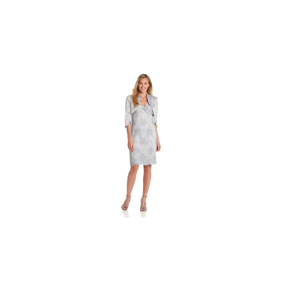 Adrianna Papell Womens Twisted Lace Dress With Jacket