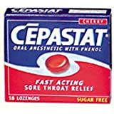 Cepastat Sugar Free Oral Anesthetic Lozenges, Cherry Flavor - 18 Ea