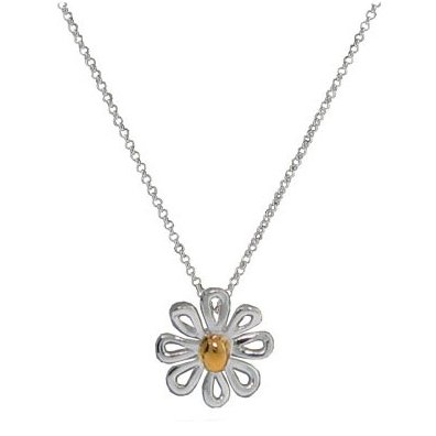 Two Tone Sterling Silver Daisy Necklace 18