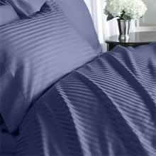 Luxurious Navy Damask Stripe, Queen Size. Eight (8) Piece Down Alternative Comforter Bed In A Bag Set. 800 Thread Count Ultra Soft Single-Ply 100% Egyptian Cotton. Includes 4Pc Bed Sheet Set, 3Pc Duvet Set & Down Alternative Comforter front-221584