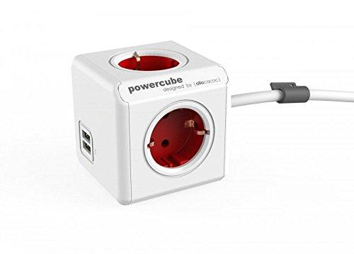 allocacoc Power Cube 1402RD/DEEUPC Chargeur extendeur pour Smartphone/Tablette USB 2.1 Rouge/Blanc