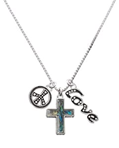 Abalone Shell Cross, Peace, Love Charm Necklace [Jewelry] [Jewelry]