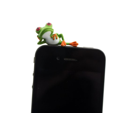 Nine States Hard Plastic Lovely Cartoon Lying Frog 3.5Mm Headphone Jack Anti Dust Plug Ear Cap For Iphone 5 5S 5C Iphone4,4S,Ipad ,Ipod Touch ,Samsung Galaxy S3 S4 Note 3 Note2,Blackberry And Other Cellphone (Green)