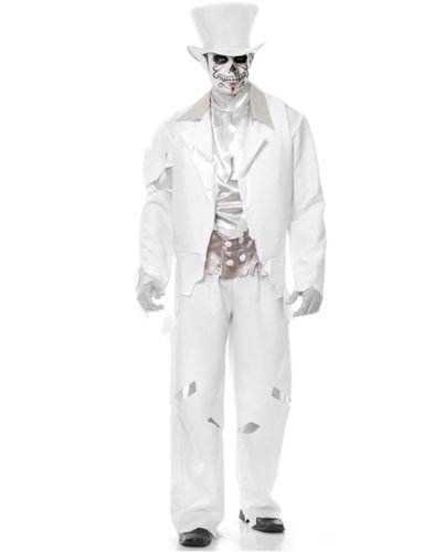 Adult Men's White Zombie Prom Ghost Groom Costume