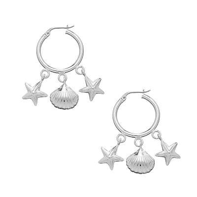 New Sterling silver hoop earrings with 3 Sealife Dangle charms. Charms has a star fish, a shell and a sand dollar.(WoW !With Purchase Over $50 Receive A Marcrame Bracelet Free)