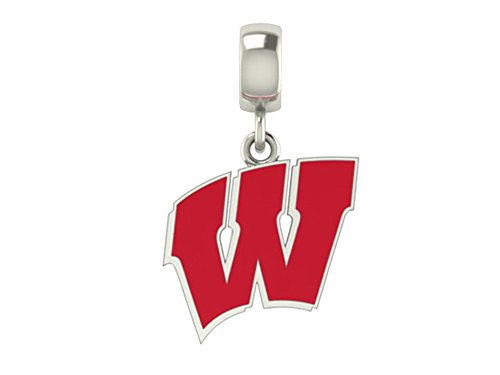 Wisconsin Badgers Logo Enamel Dangle Fits All European Style Charm Bracelets