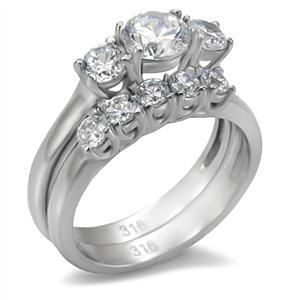 Stainless Steel Round Cubic Zirconia Past Present & Future Wedding Set SZ 10