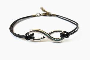 Black Ropes Steampunk Bracelet Antique Silver Karma Bracelet,infinity Wish Bracelet Adjustable Bracelet S-8