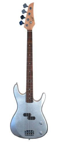 SILVER Electric Bass Guitar & DirectlyCheap(TM) Translucent Blue Medium Guitar Pick
