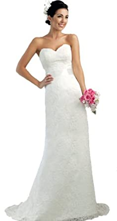 Faironly Lace Modified A-line Bridal Gown Wedding Dress (XS, Ivory)