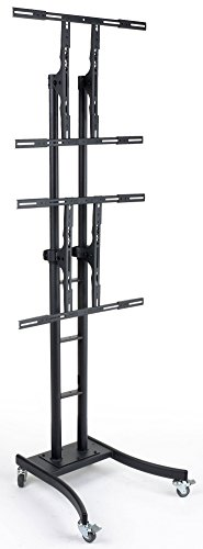 """Mobile Tv Stand For Floor, Dual Monitor Mount With 2 Brackets For 32"""" To 84""""+ Flat-Screen Monitors, 50"""" To 90.5"""" Height-Adjustable Fixture With Locking Wheels, Includes Optional Shelf - Black"""