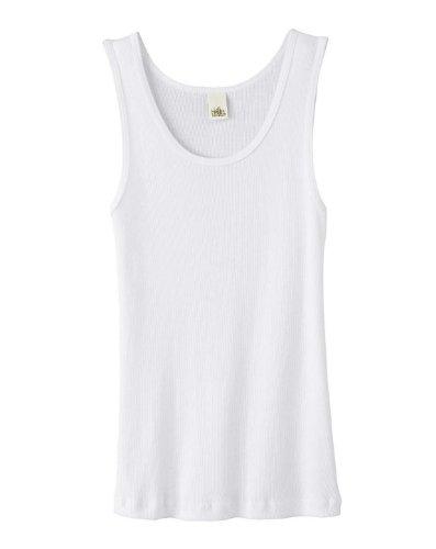 Bella Ladies 5.8 Oz. Organic Cotton 2X1 Rib Tank - White - L front-903550