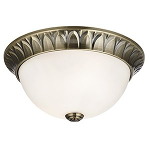 Traditional Antique Brass & White Glass Small Flush Ceiling Light for Low Ceilings - Houseoflights