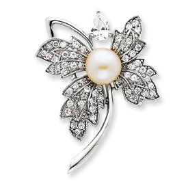 Sterling Silver Imitation Pearl and CZ Pin - QP886