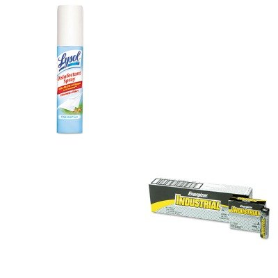 KITEVEEN91RAC79132 - Value Kit - LYSOL Brand Disinfectant Spray to Go (RAC79132) and Energizer Industrial Alkaline Batteries (EVEEN91) kitmmmc60stpac103637 value kit scotch value desktop tape dispenser mmmc60st and pacon riverside construction paper pac103637