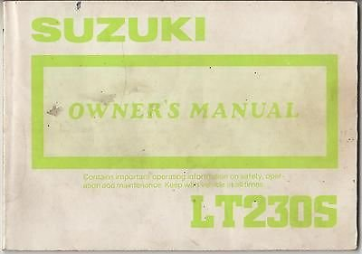 1988 Suzuki Atv 4 Wheeler Lt230S P/N 99011-22A23-03A Owners Manual (432) front-924993