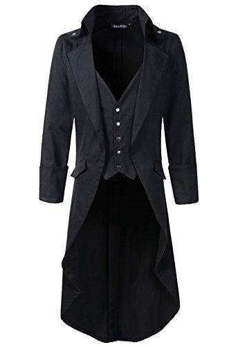 Mens-Gothic-Tailcoat-Jacket-Black-Steampunk-VTG-Victorian-High-Collar-Coat