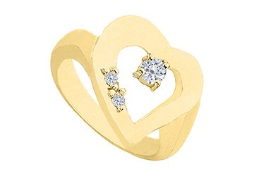 Heart CZ Ring in 14K Yellow Gold Total Gem Weight of 0.33 Carat