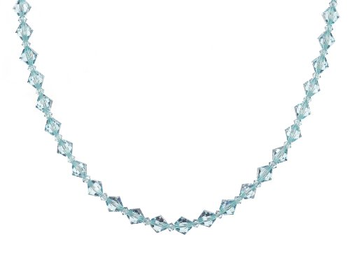 Sterling Silver Swarovski Elements 6mm and 3mm Aquamarine Colored Bicones Necklace, 20